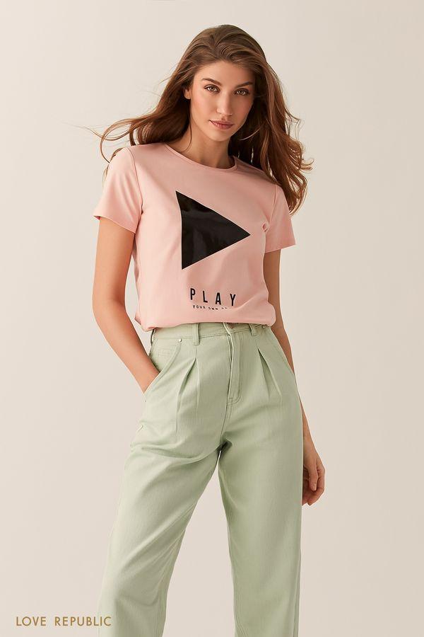 """Розовая футболка с принтом """"PLAY"""" 02551370387-90"""