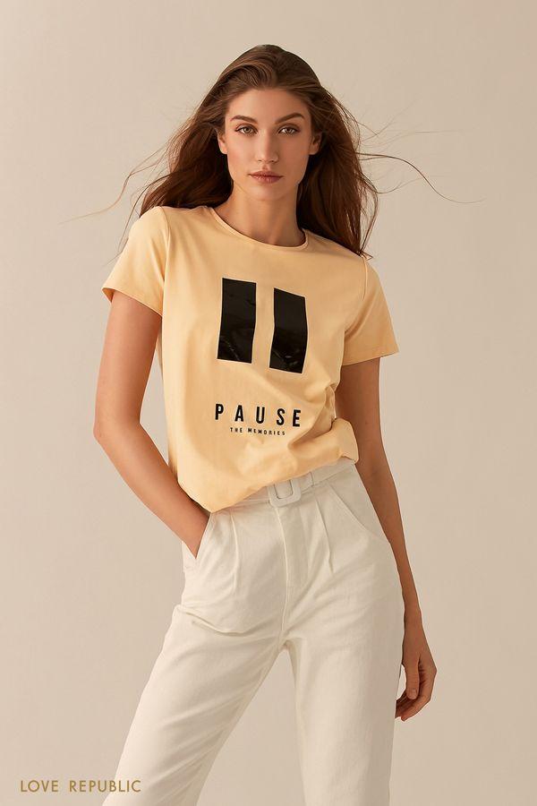 """Желтая футболка с принтом """"PAUSE"""" 02551370389-9"""