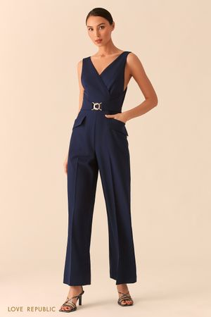 Синий комбинезон с верхом на запах и брюками палаццо фото
