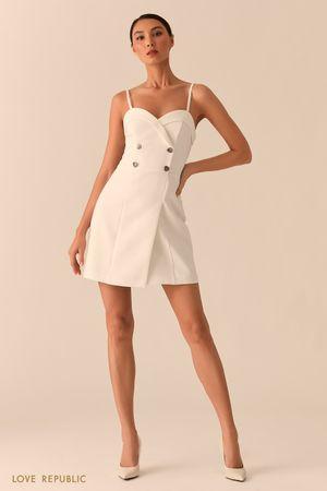 Платье-бюстье с двубортным топом молочного цвета фото