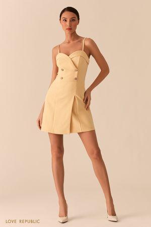 Платье-бюстье с двубортным топом желтого цвета фото