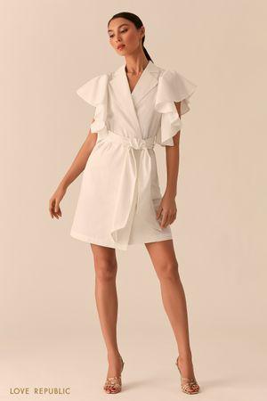 Белое платье на запах с объемными рукавами-воланами фото