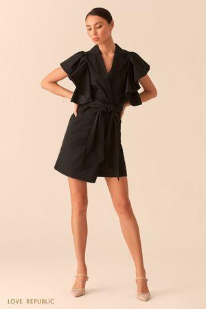 Черное платье на запах с объемными рукавами-воланами фото
