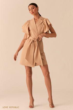 Бежевое платье на запах с объемными рукавами-воланами фото