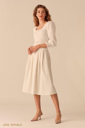 Пышная юбка-миди из вафельной белой ткани фото