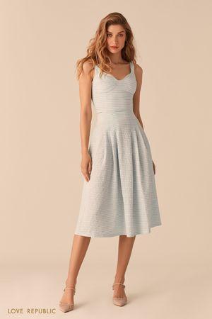 Пышная юбка-миди из вафельной голубой ткани с принтом