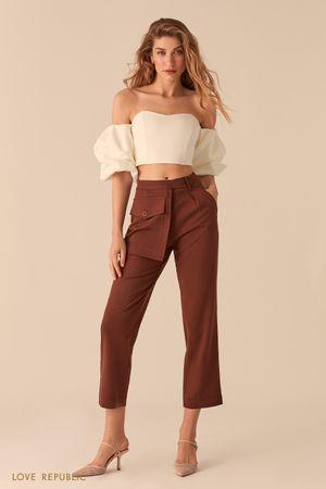 Укороченные шоколадные брюки с отстегивающимся наружным карманом фото
