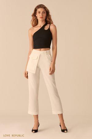 Укороченные молочные брюки с отстегивающимся наружным карманом фото