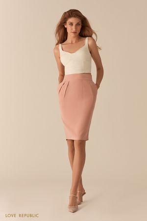 Розовая юбка-тюльпан со шлицей длины до колена фото