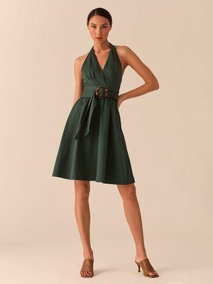 Зеленое платье-халтер А-силуэта с поясом с черепаховой пряжкой Love Republic