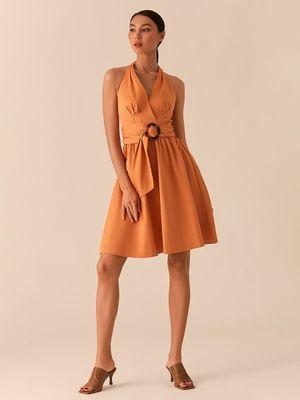 Оранжевое платье-халтер А-силуэта с поясом с черепаховой пряжкой фото