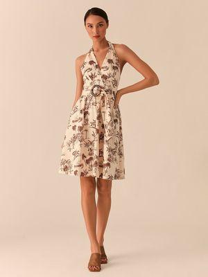 Платье-халтер А-силуэта с поясом с черепаховой пряжкой фото