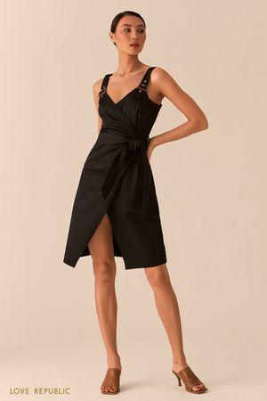 Асимметричное открытое платье на запах черного цвета Love Republic