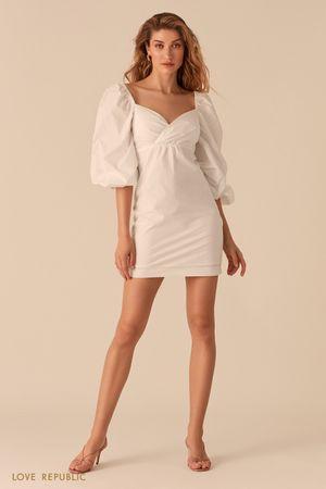 Белое платье с объемными рукавами и вырезом sweetheart Love Republic