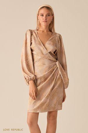 Платье на запах с объемными рукавами и драпировками на талии фото