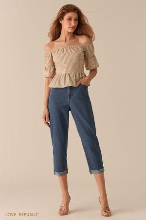 Блузка с открытыми плечами и принтом из полос