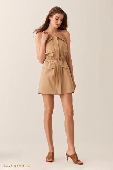 Платье песочного оттенка с накладными карманами 0255202515