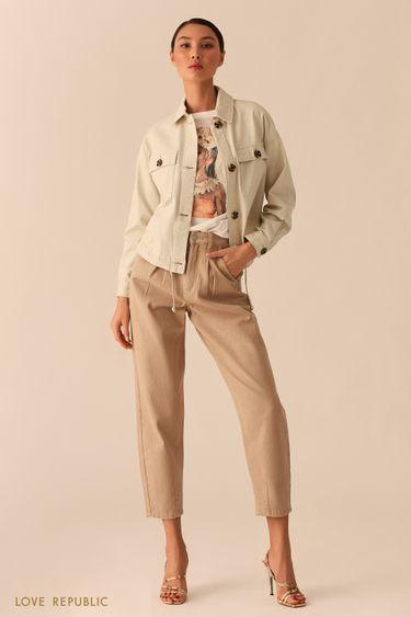 Бежевая куртка из хлопка с нагрудными карманами 02552060101