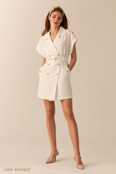 Молочное двубортное платье-пиджак с короткими рукавами 0255208514