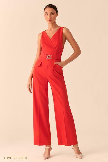Красный комбинезон с верхом на запах и брюками палаццо 02552090707