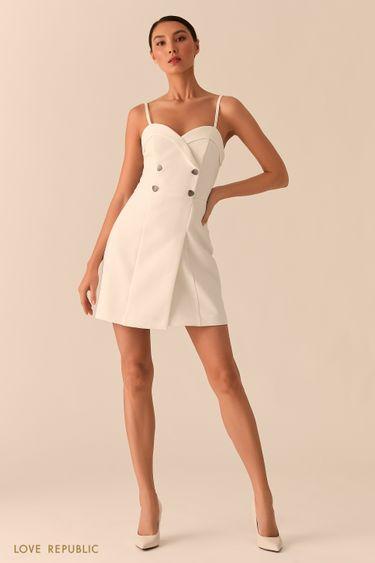 Платье-бюстье с двубортным топом молочного цвета 0255215517