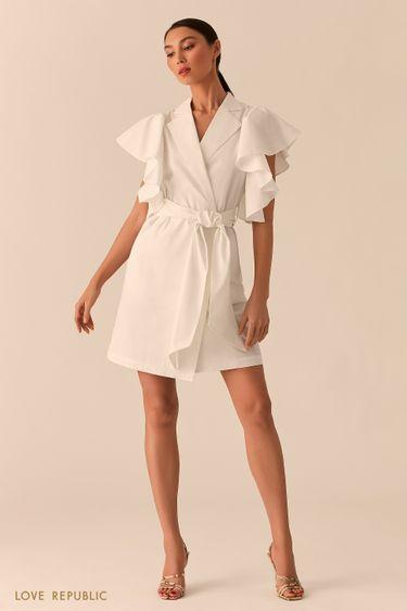 Белое платье на запах с объемными рукавами-воланами 0255221528