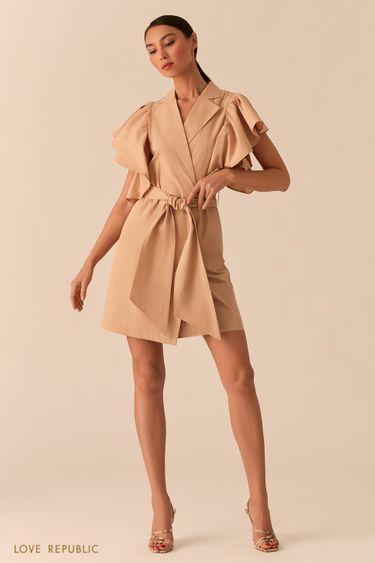 Бежевое платье на запах с объемными рукавами-воланами 0255221528