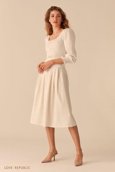 Пышная юбка-миди из вафельной белой ткани 02552270228