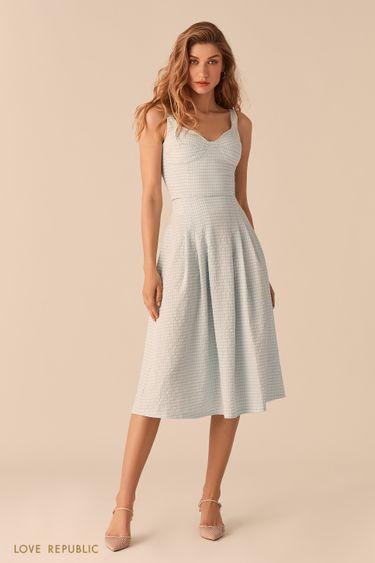 Пышная юбка-миди из вафельной голубой ткани с принтом 0255227228