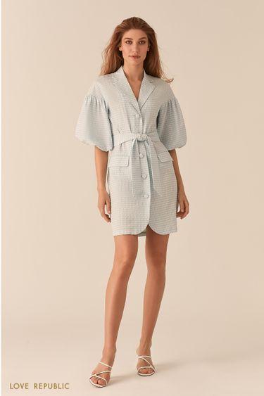 Платье из вафельной голубой ткани с объемными рукавами 0255227560