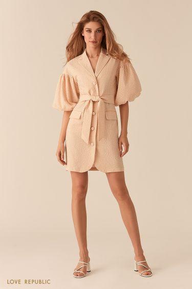 Платье из вафельной бежевой ткани с объемными рукавами 0255227560