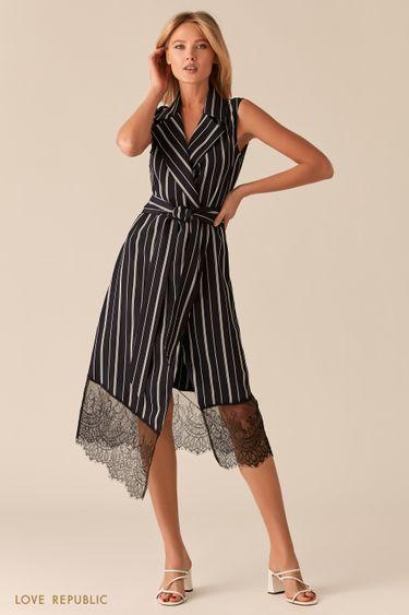 Черное асимметричное платье-пиджак с кружевом 0255234554