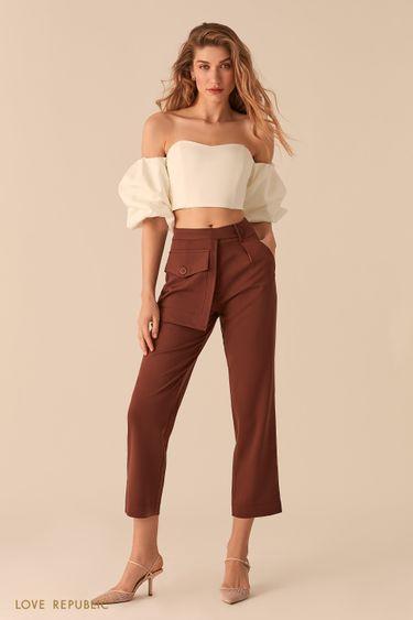 Укороченные шоколадные брюки с отстегивающимся наружным карманом 02552350769