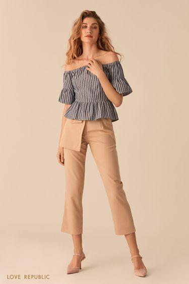 Укороченные бежевые брюки с отстегивающимся наружным карманом 02552350769