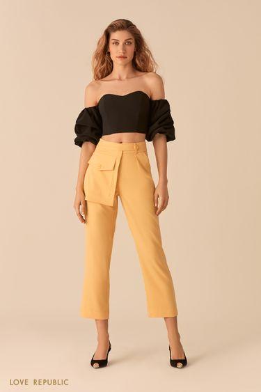 Укороченные желтые брюки с отстегивающимся наружным карманом 02552350769