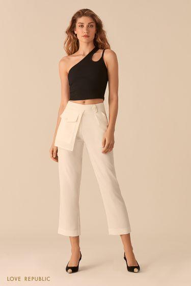 Укороченные молочные брюки с отстегивающимся наружным карманом 0255235769