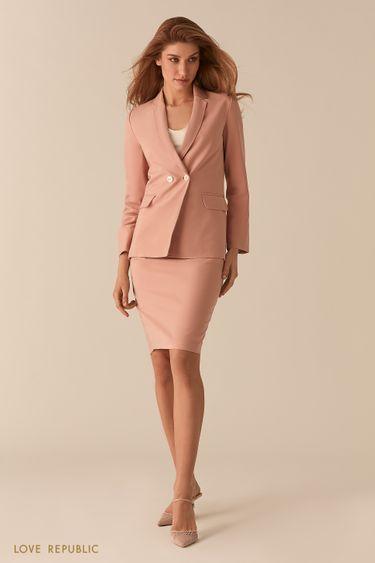 Розовый двубортный жакет с карманами на клапане 0255236601
