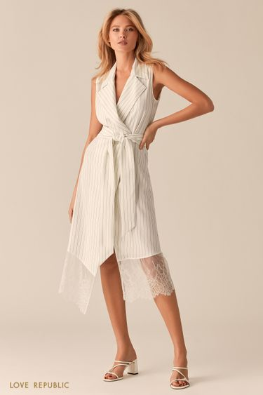 Белое асимметричное платье-пиджак с кружевом 0255238554