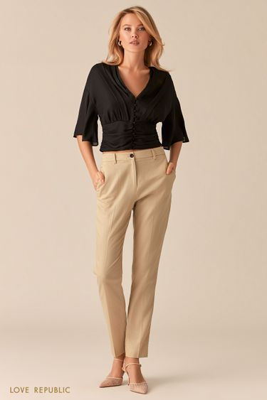 Бежевые брюки из льна и тенсела 0255247781