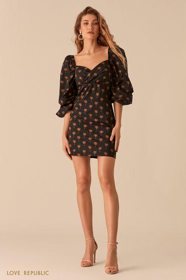 Платье с объемными рукавами и вырезом sweetheart 0255254558