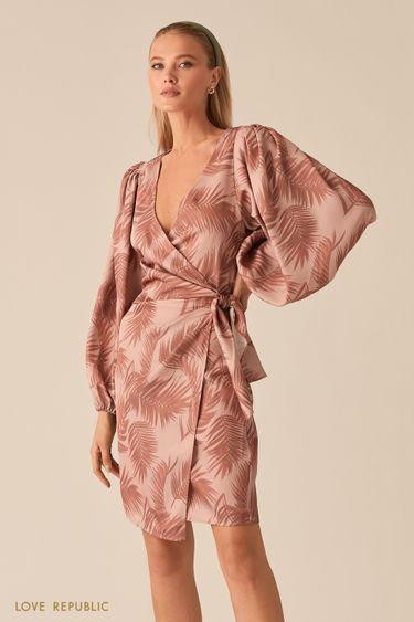 Платье на запах с объемными рукавами и драпировками на талии 0255255553