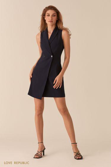 Темно-синее платье-пиджак асимметричного кроя без рукавов 02552580559
