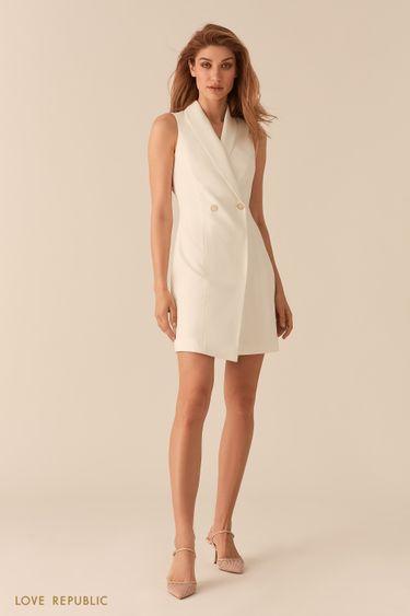 Платье-пиджак асимметричного кроя без рукавов молочного цвета 0255258559