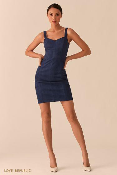 Открытое темно-синее платье-футляр из экозамши 02552610573