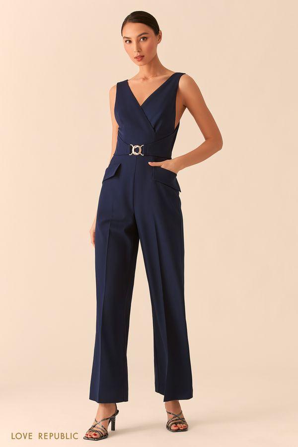 Синий комбинезон с верхом на запах и брюками палаццо 02552090707-47
