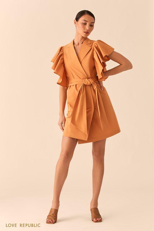 Оранжевое платье на запах с объемными рукавами-воланами 02552210528-23