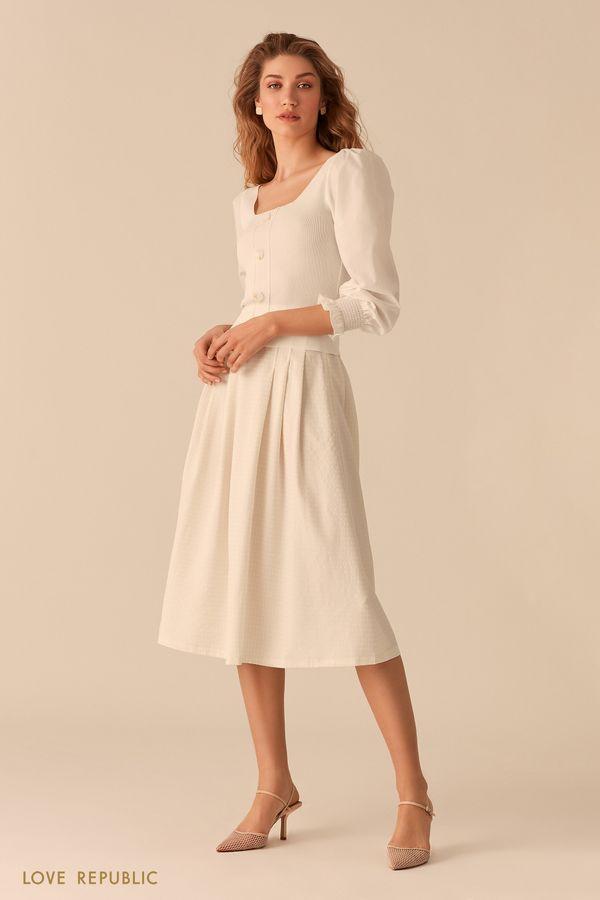 Пышная юбка-миди из вафельной белой ткани 02552270228-60