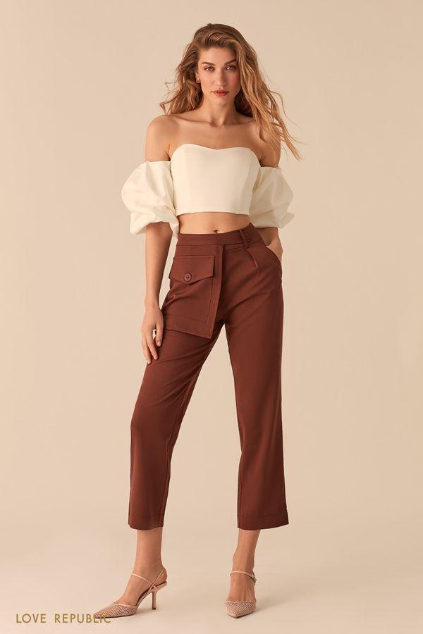 Укороченные бежевые брюки с отстегивающимся наружным карманом 02552350769-62