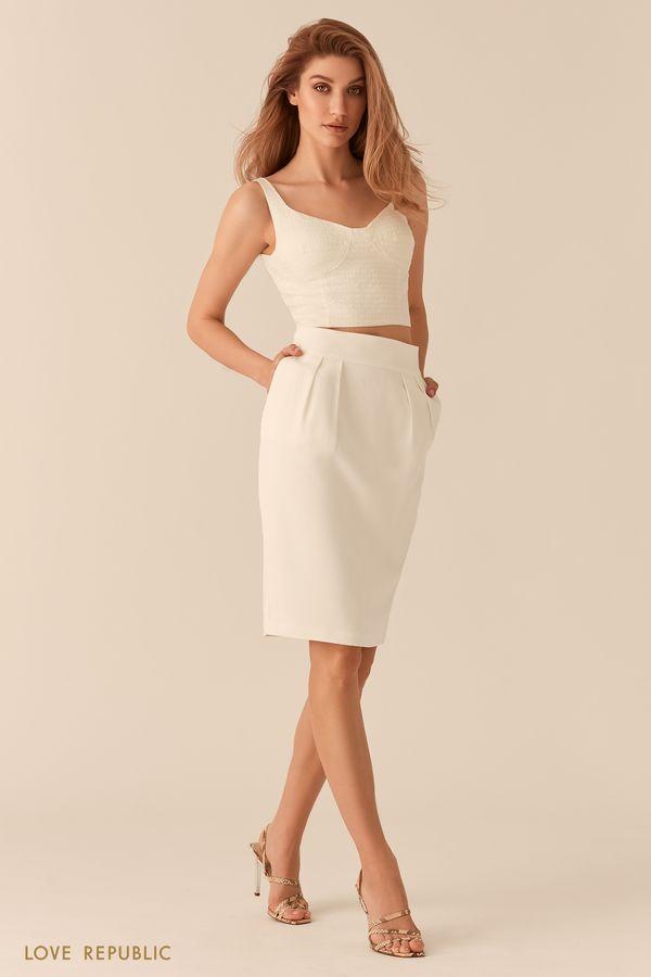 Розовая юбка-тюльпан со шлицей длины до колена 0255236226-90