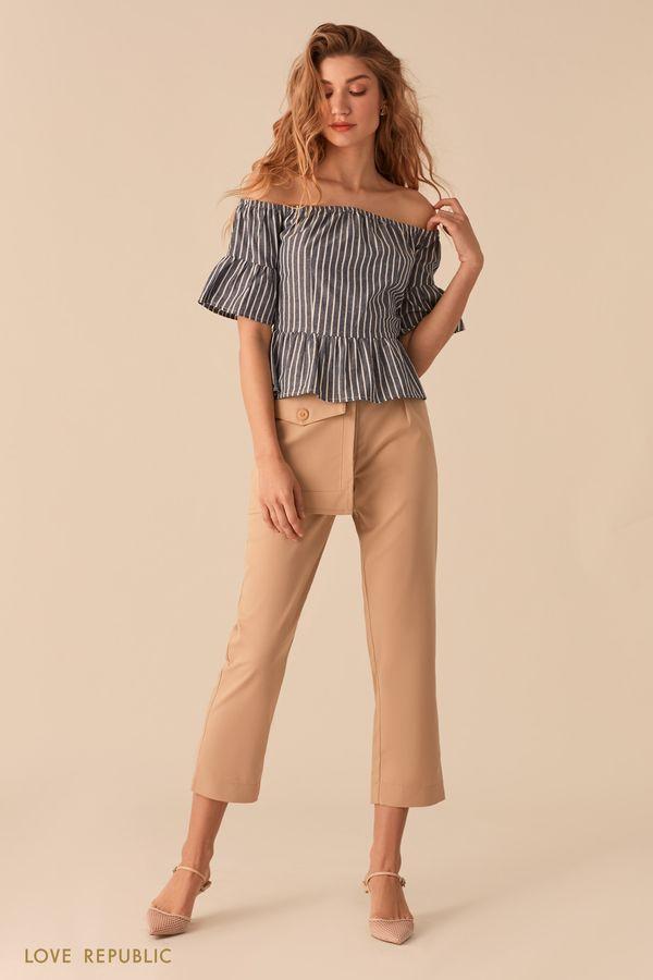 Блузка с открытыми плечами и принтом из полос 0255243357-42